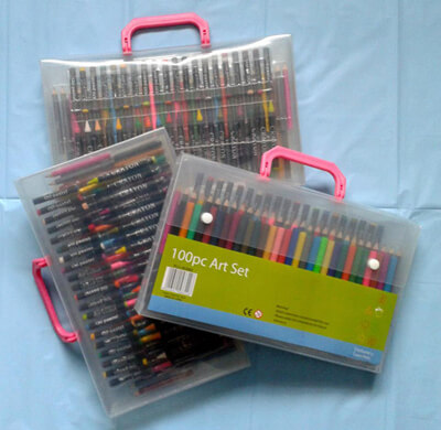 Music Audio Stories colour cases of felt tip pens and pencils for children's drawings image