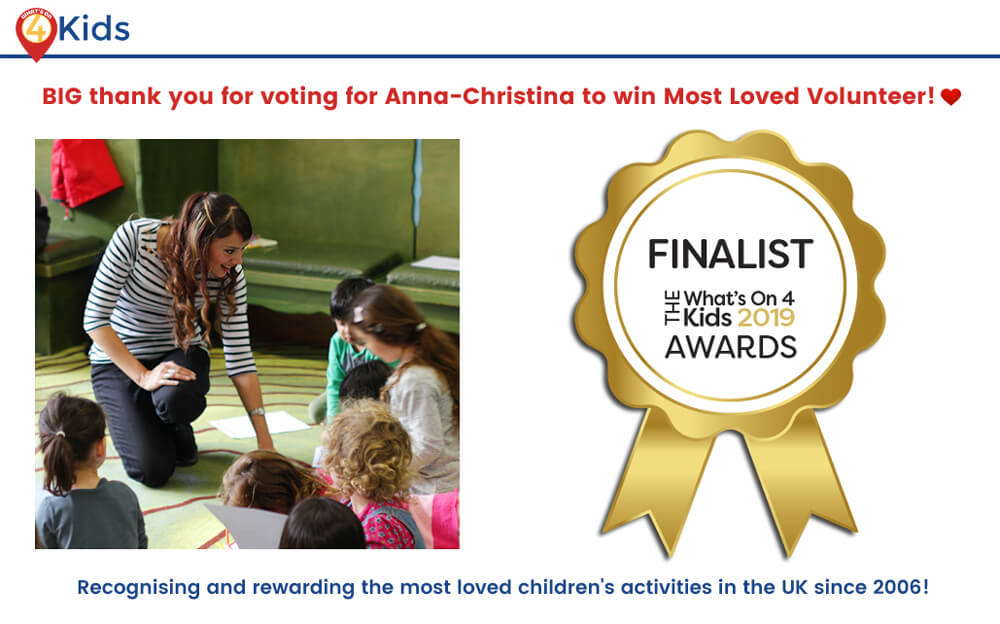 Anna-Christina - What's On 4 Kids Awards Finalist - Music Audio Stories (Storytime with Anna-Christina) - banner image