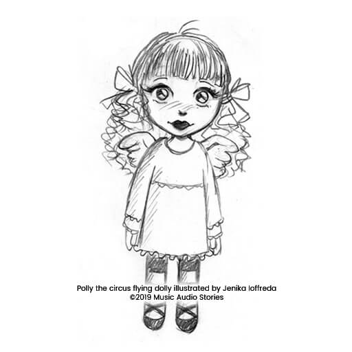 Billy Joins the Circus - Polly the circus flying dolly sketch by Jenika Ioffreda image