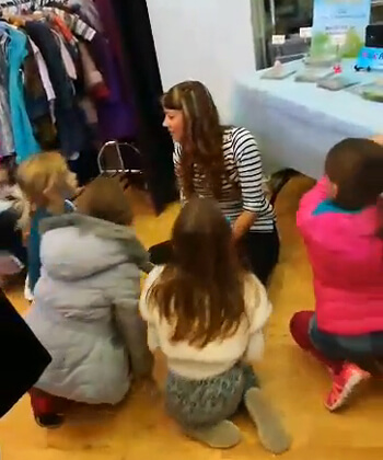 Anna-Christina entertaining the children with part of her Story Time at the Baby & Children's Market UK