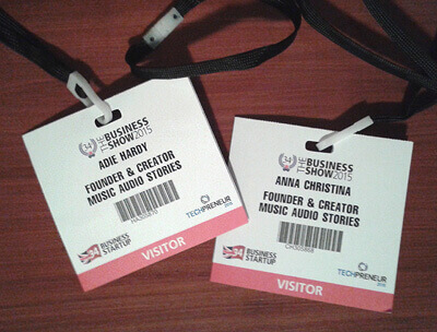 Music Audio Stories name tags for The Business Show 2015 image