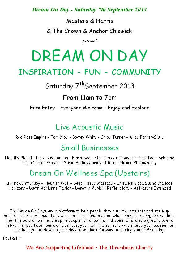 Dream On Day flyer image