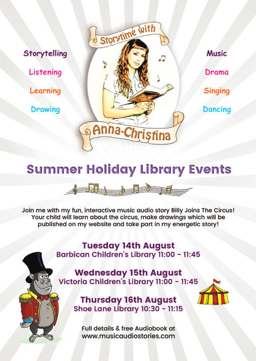 Music Audio Stories Summer Holiday Library Events flyer image