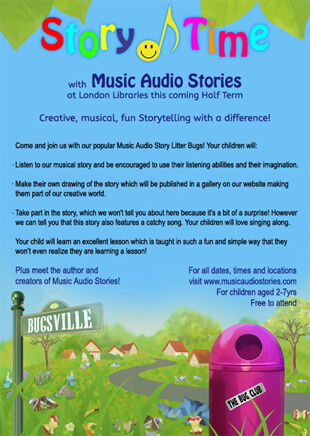 Music Audio Stories at London Libraries flyer image