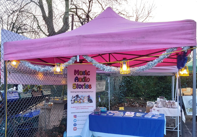 The Music Audio Stories stall at Christmas at The Chase Market image
