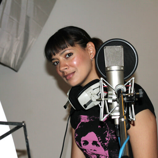 Anna-Christina narrating Music Audio Stories in the studio image