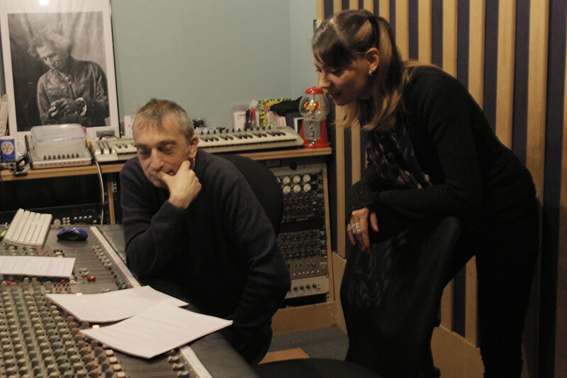 Adie Hardy and Anna-Christina composing music and the score to Music Audio Stories at the recording studio image