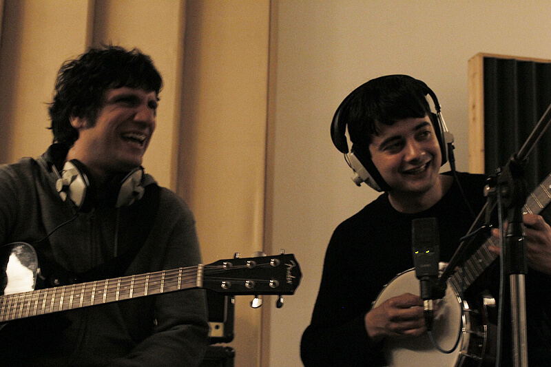 Aris Tsigaras and Aaron John recording their song in the studio for Robert & Johnson's Space Adventure image