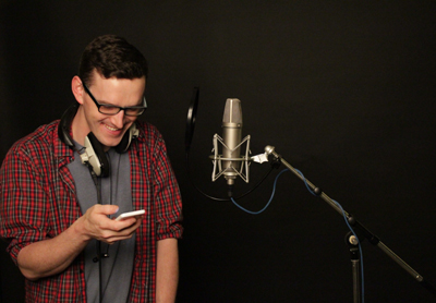 Cormac McCoy recording the voice of the centipede in audiobook Weird and Wonderful by Music Audio Stories