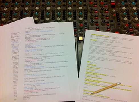 The script pages to audiobook Weird and Wonderful by Music Audio Stories on a mixing desk at the studio