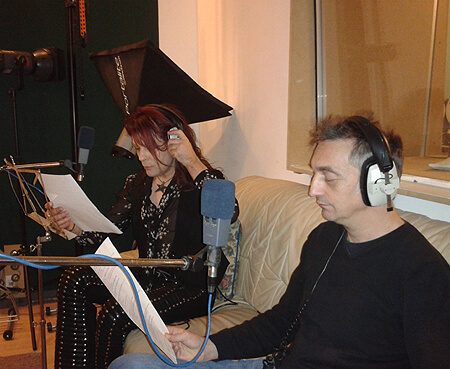 Belle Star recording 'No' the mischievous squirrel and with Adie Hardy as 'Yes' in The Big Apple by Music Audio Stories