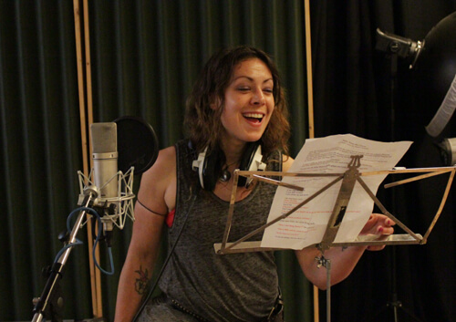 Emma Anton recording Polly the circus flying dolly in audiobook Billy Joins the Circus by Music Audio Stories