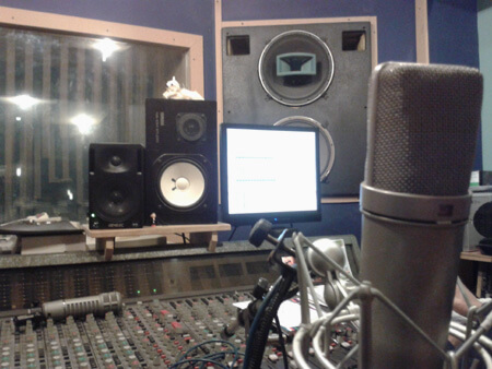Microphones and Stand in the control room at the studio image